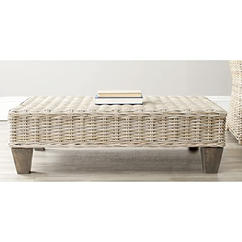 Safavieh Home Collection Leary Wicker Bench, Washed Natural