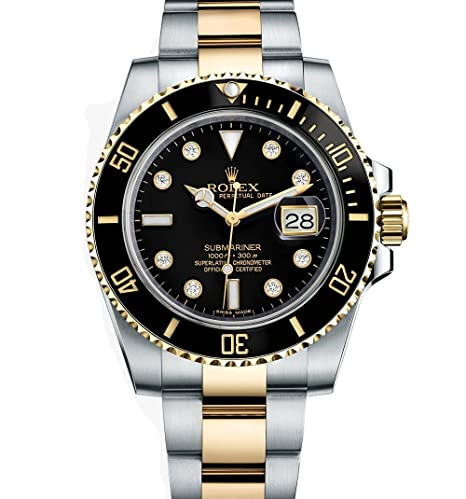 Rolex Submariner Acero Inoxidable Amarillo Oro Reloj Diamond Dial 116613: Rolex: Amazon.es: Relojes