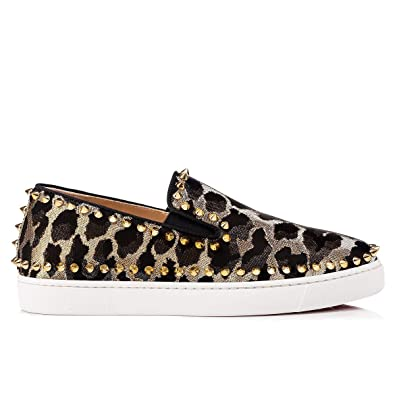 9b12ad2908c Christian Louboutin Women's 3180673CM6S Gold Leather Slip On ...