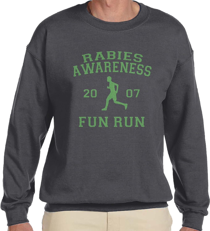Amdesco Men's The Office Rabies Awareness Fun Run 2007 Crewneck Sweatshirt