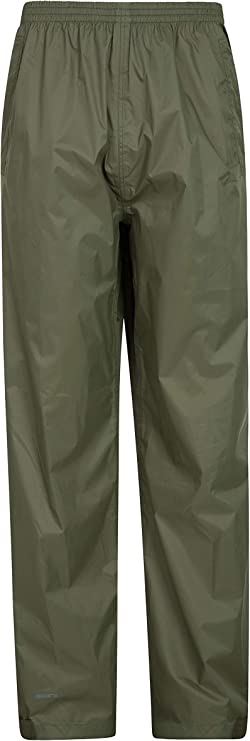 Image of a waterproof rain pants in moss green color, garterized waist, on a white background.