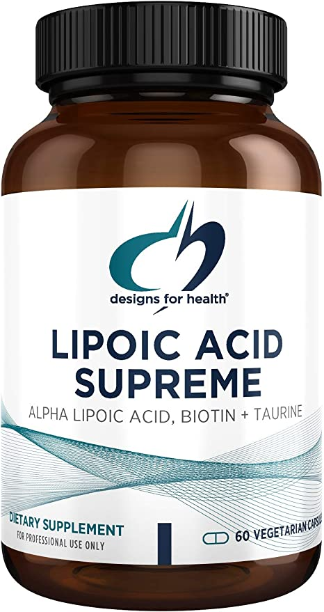Designs for Health Lipoic Acid Supreme - 300mg Alpha Lipoic Acid with Biotin + Taurine - Vegetarian, Non-GMO ALA Supplement to Help Maintain Healthy Blood Sugar (60 Capsules)