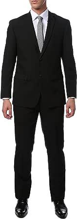 46L Mens 2pc 2 Button Slim Fit Black Paul Lorenzo Suit