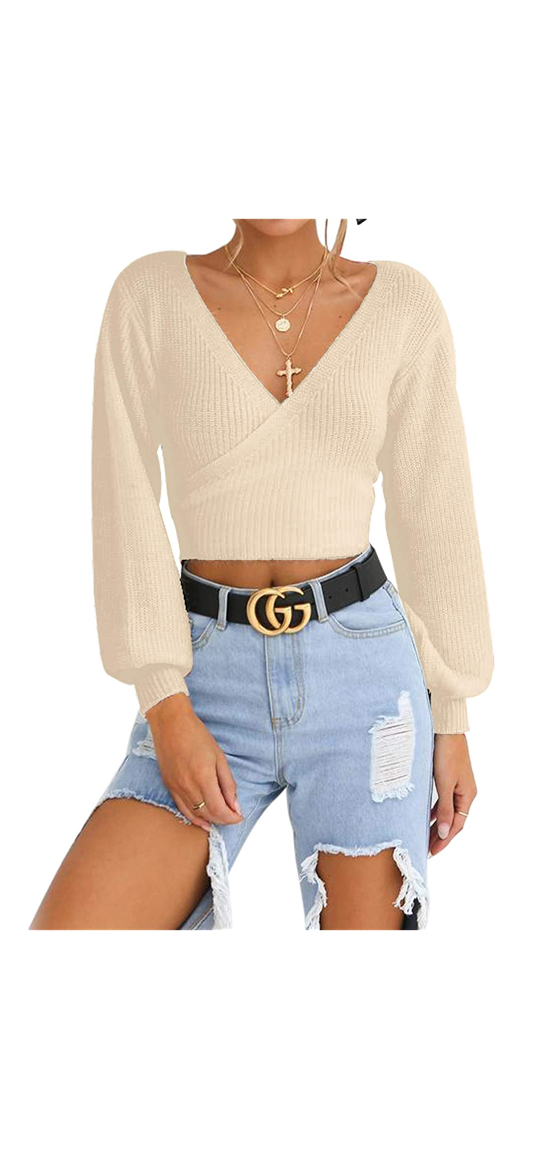 Women's Knitted Crop Deep V-neck Long Sleeve Pullover Wrap