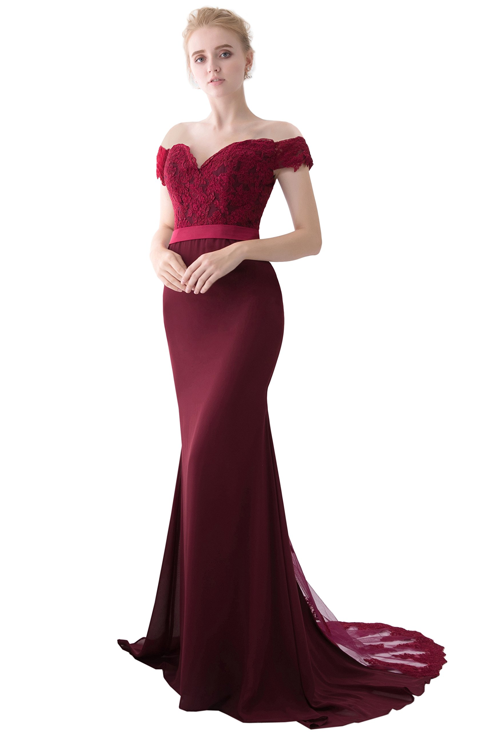 Miao Duo Women's Retro Long Mermaid Evening Gowns Formal Homecoming, Wine Red, Size 8
