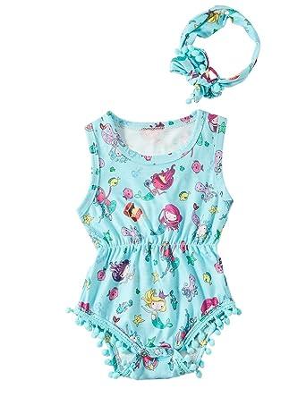 RAISEVERN Newborn Baby Girl Toddler Ruffle Little Kids Romper Bodysuit  Summer Outfits with Headbands effa6d95a