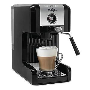Mr. Coffee Easy Espresso Maker, 6 Piece, Chrome/Black