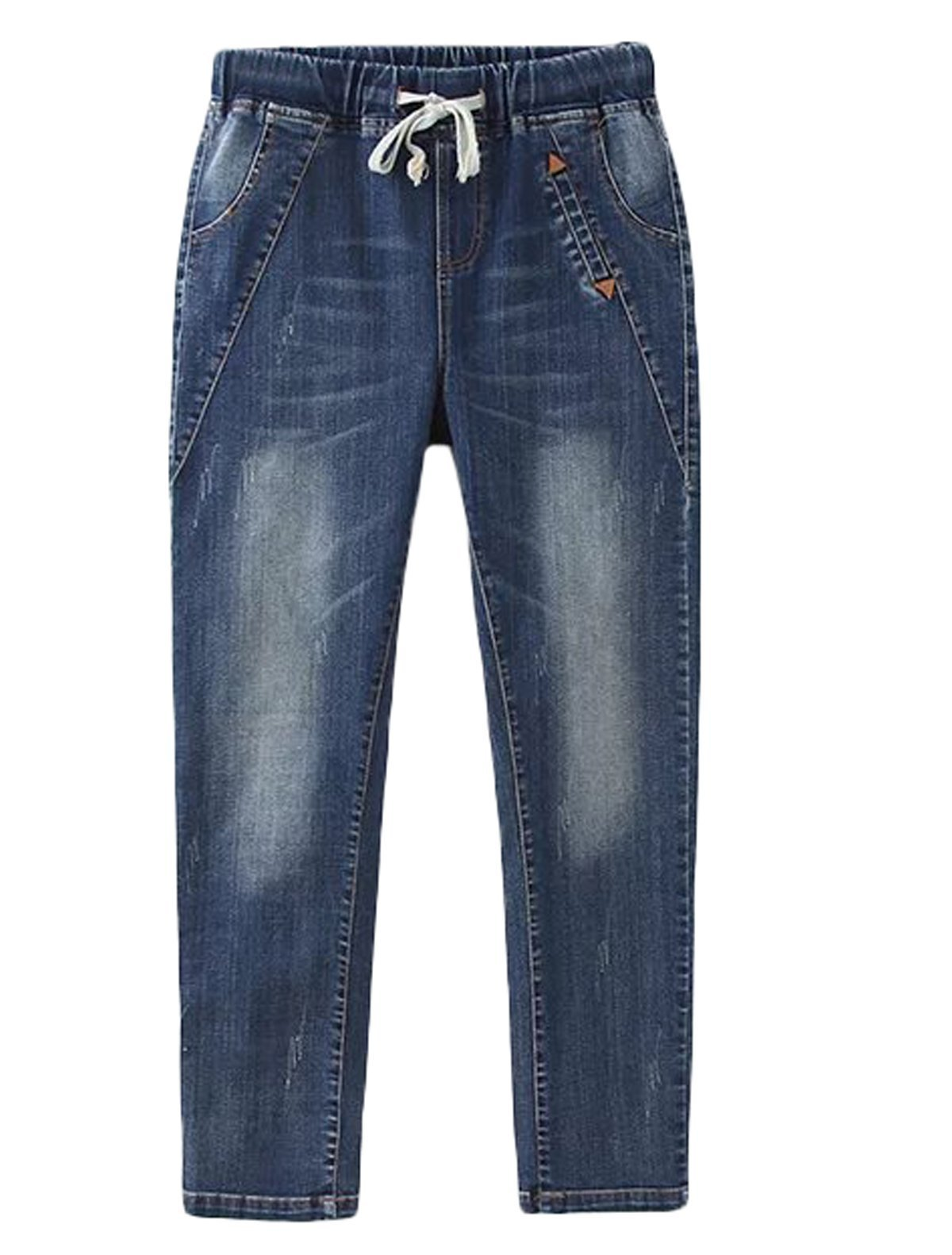 Mordenmiss Women's Straight Jeans Distressed Stretch Jeans Pants with Pockets XL
