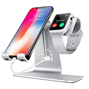 Bestand 2 in 1 Charging Stand Holder& Phone Desktop Tablet Dock Compatible with Apple Watch/iPhoneX/XS/XS Max/XR/8/8 Plus/Samsung Galaxy S10/S9/S9+/iPad Upscale Silver