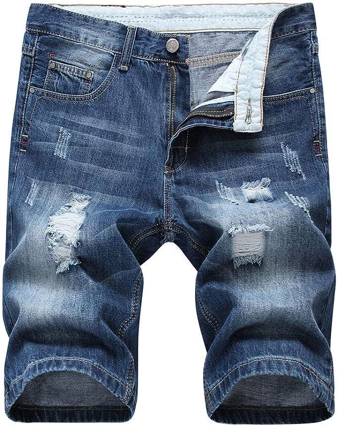 Jurtee Pantalones Cortos Hombre Vaqueros Tallas Grandes Nuevos Huecos Impresion Tejanos Shorts De Verano Amazon Es Ropa Y Accesorios