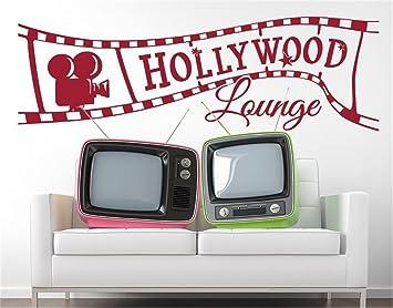 wandaufkleber selbst gestalten Hollywood Lounge für Wohnzimmer ...