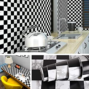Livelynine Checkered Wallpaper Peel and Stick Bathroom Backsplash Wall Decor Adhesive Shelf Liners Black and White Checkered Paper Checkerboard Wallpaper 17.7x78.8 Inch