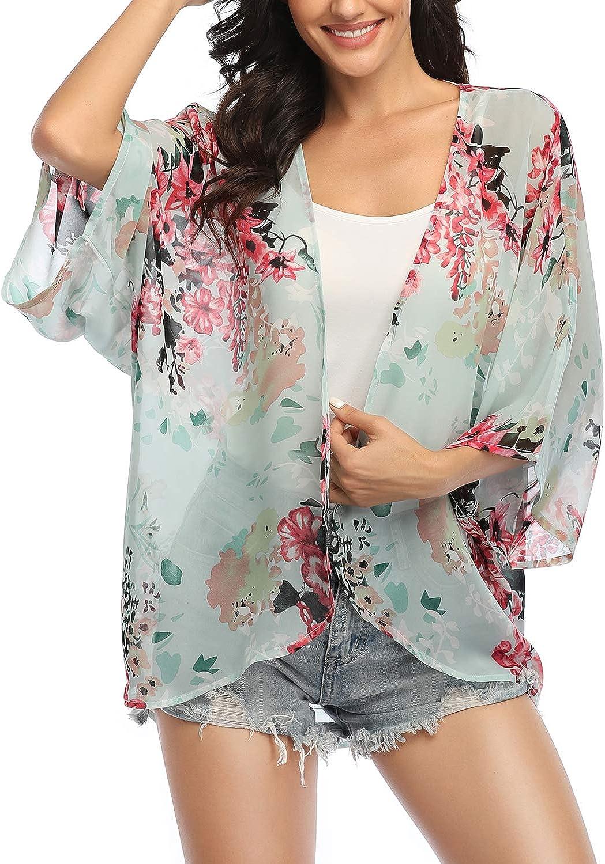 Beach Ladies Shawl Cardigan Cover NEW Kimono Women Tops up Chiffon Blouse Floral