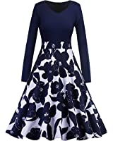 OWIN Women's Casual Floral Contrast Evening Party Swing Dress