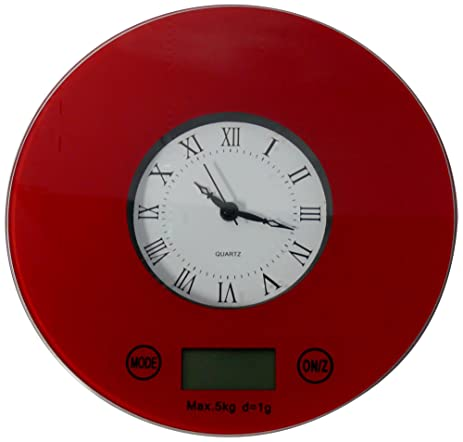 IFRESH Digital Kitchen Scale With Quartz Clock, Red