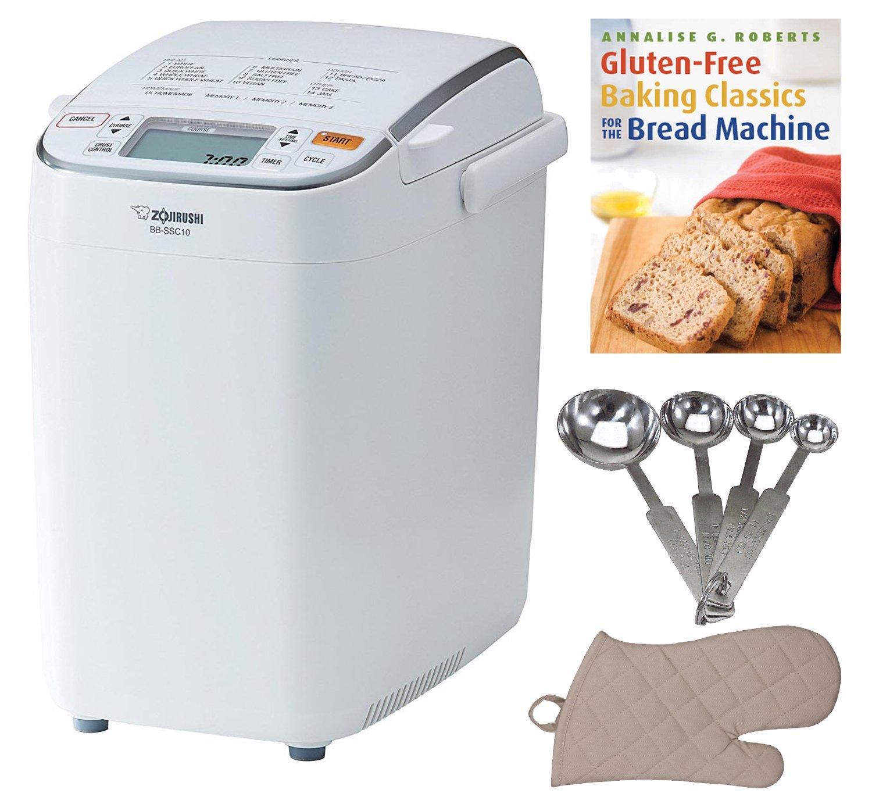 Zojirushi BB-SSC10 Home Bakery Maestro Breadmaker + Bread Making Book, Measuring Spoon Set and Oven Mitt