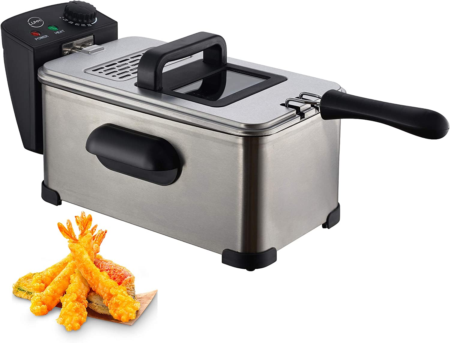 Lumme Deep Fryer with Basket, Stainless Steel, Easy to Clean Deep Fryer Cool Touch Handles On Housing, Basket included, Clear Vent, Adjustable Temp, Silver