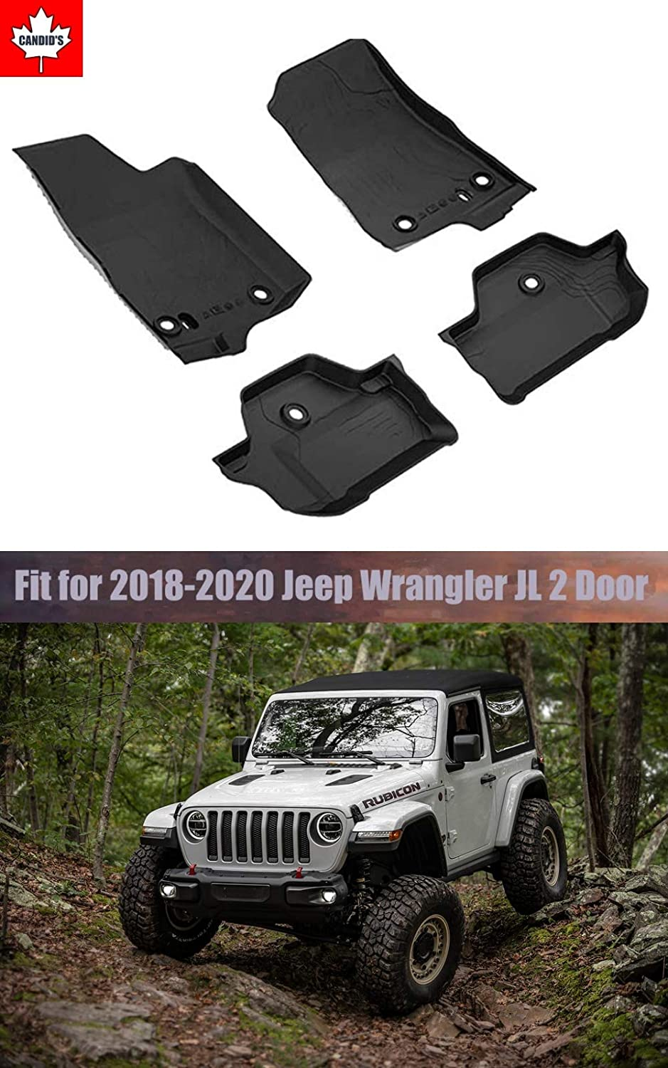 Floor Mats for Jeep Wrangler JL 2-Door 2018-2019-2020 All Weather Guard 1st and 2nd Row Mat TPE Slush Liners