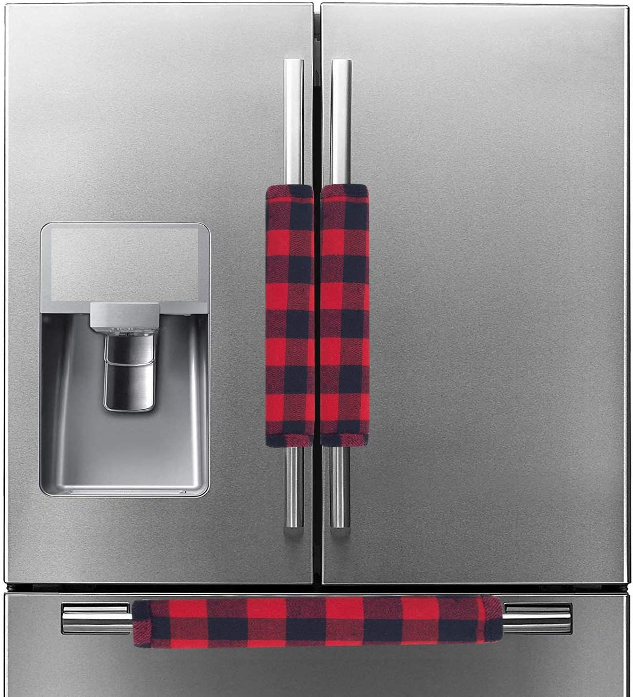 DayliPillow Buffalo Check Plaid Refrigerator Handle Covers Set of 3,Farmhouse Red and Black Plaid Kitchen Appliance Handle Covers, Microwave Oven Fridge/Dishwasher Door Handle Protector