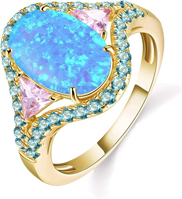 JIANGYUE Exquisite Rings for Women Fire Opals AAA CZ 14K Plated Ring Party Jewelry Size 5-10