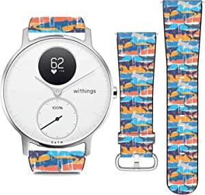 nobrand Compatible with Withings Steel HR 36mm, (Pop Art Vintage Grunge Sharks Pattern) PU Leather Band Replacement Strap for Women Men