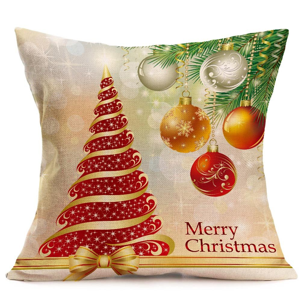 Merry Christmas Pgojuni Linen Pillowcase Decoration Accent Throw Pillow Cover Cushion Cover for Couch/Sofa 1pc 45X45 cm (K)