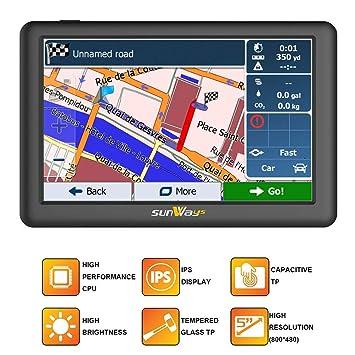 sunways Coche GPS 5 Pulgadas de Pantalla táctil capacitiva de 8 GB con Sistema Sat Nav