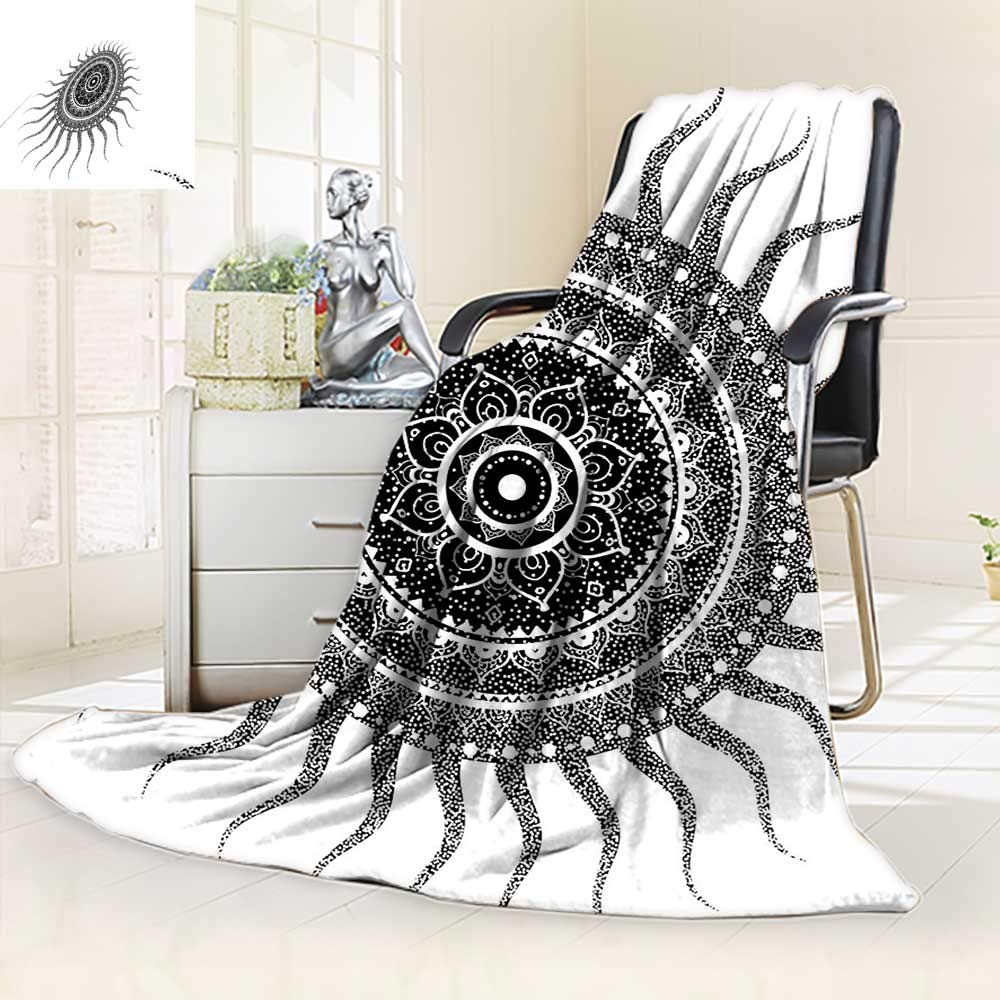 vanfan Blanket Comfort Warmth Soft Classic India Style Sun Beams Like Oriental Figures Decorative Print Black Silky Soft,Anti-Static,2 Ply Thick Blanket. (90''x90'')