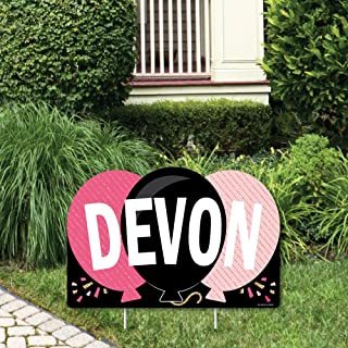 product image for Big Dot of Happiness Personalized Chic Happy Birthday - Pink, Black and Gold - Lawn Party Decorations - Custom Birthday Party Name Yard Sign