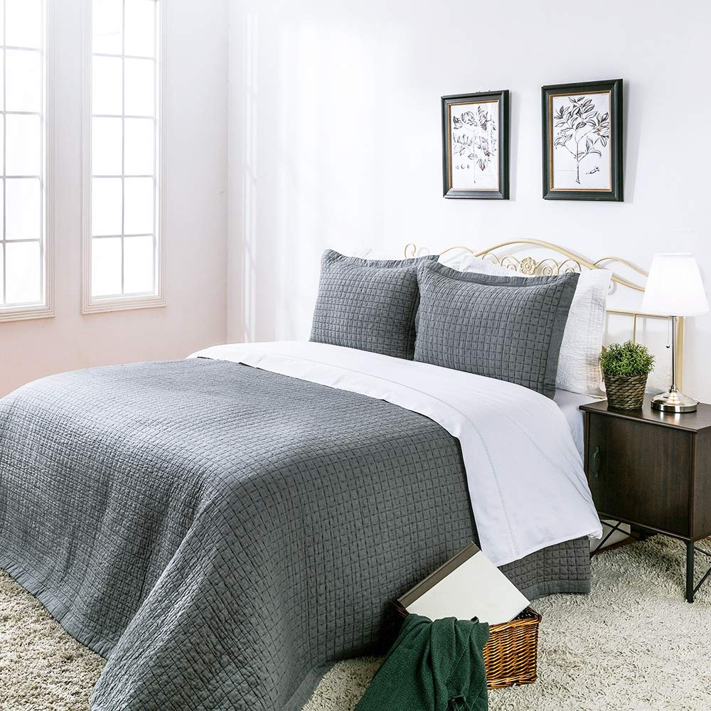 Elegant Life Cotton Chambray Cross Pic-Stitch Bedding Quilt - Twin 68'' x 90'', Gray Color