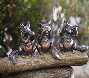 SUMMIT COLLECTION See No Evil Hear No Evil Speak No Evil Foxes Seated On Log Wood Home and Garden Decorative Shelf Sitter Figurines Copper Bronze Finish 13 Inches L