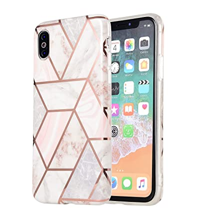 Iphone Xs Max Case Marble Glitter Rose Gold Full Body Coverage Phone Case Tpu Rubber Silicone Protective Case For Iphone 10 Xs Max 6 5 Inch Pink