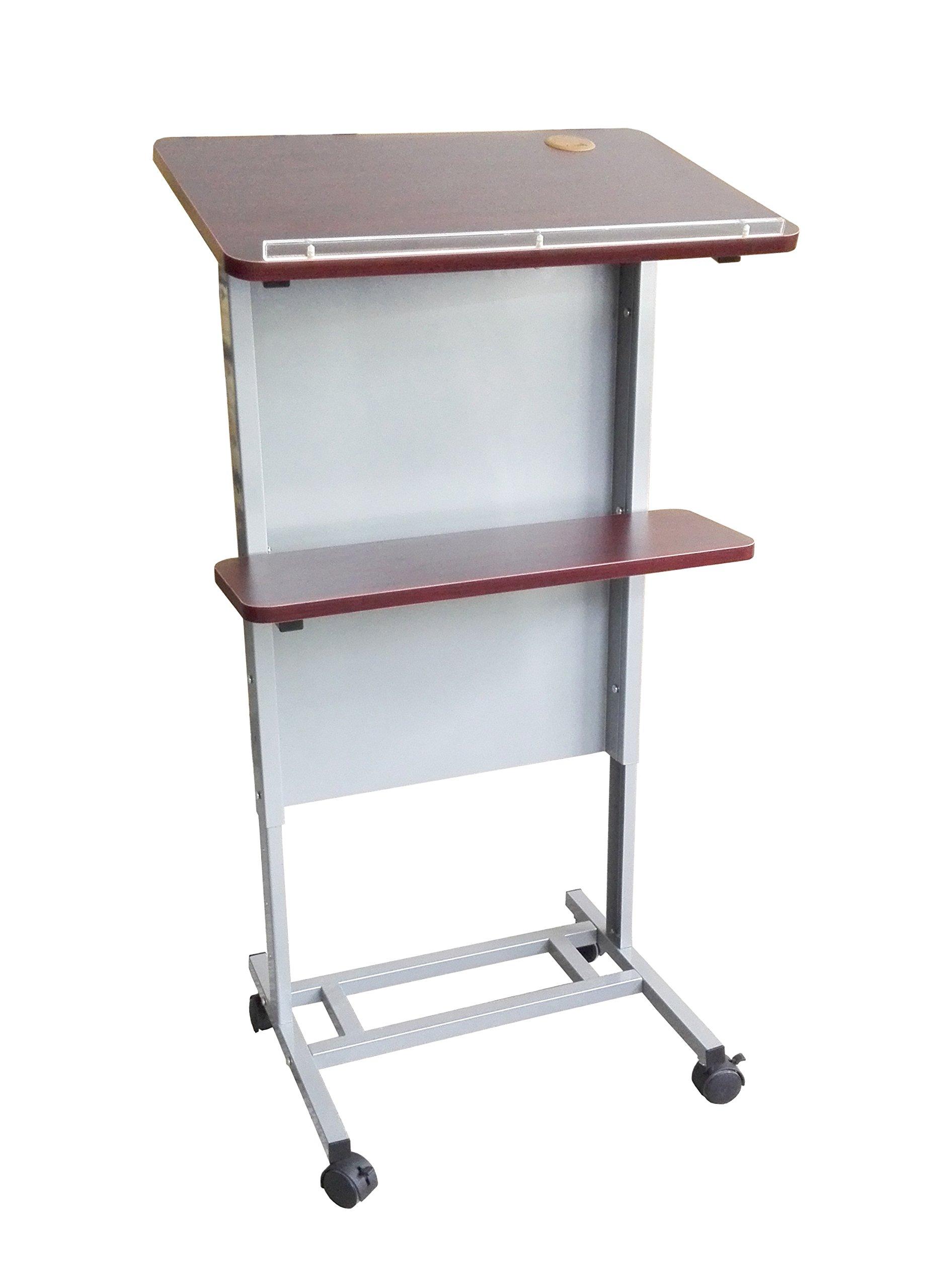 FixtureDisplays Floor Standing Pulpit Adjustable Height Lectern Podium w/Casters, Heavy Duty Steel Frame, Rolling Podium 18147