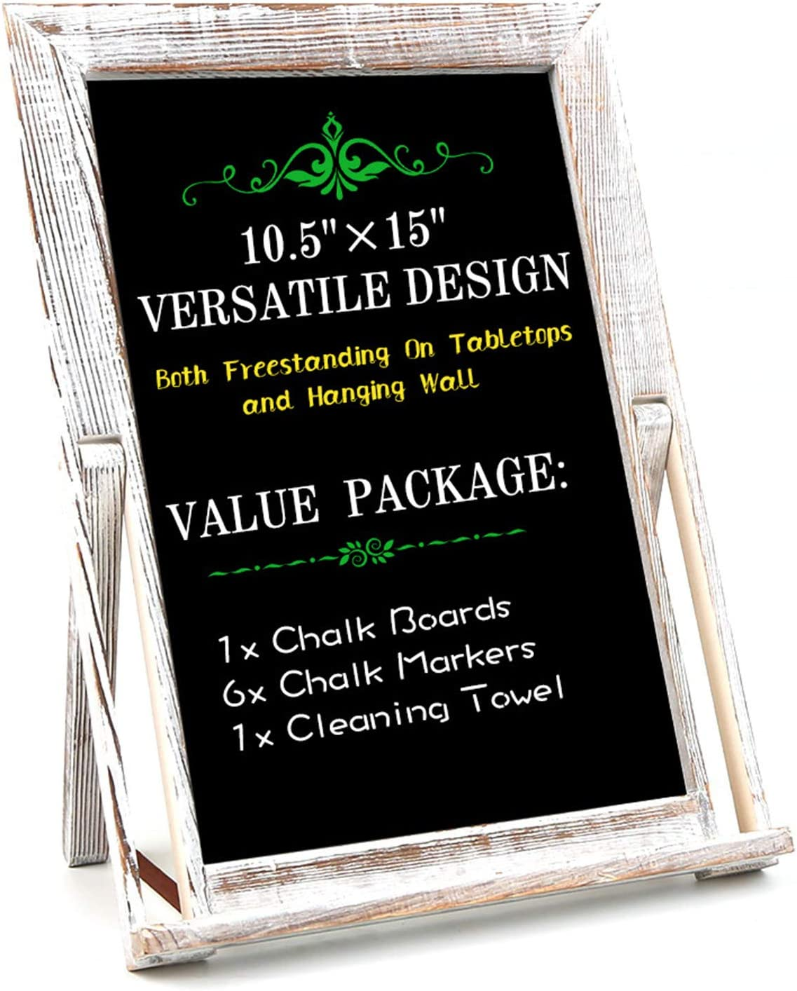 BECTSBEFF 15 X 10.5 Wood Framed Tabletop Chalkboard Sign, Small Rustic Whitewash Wall Hanging Magnetic Chalkboard, Kitchen Menu Display Chalk Board Signs, Mini Countertop Memo Board for Wedding Décor