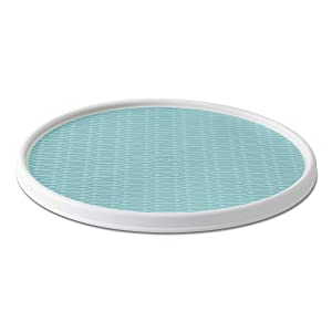 Copco 5246418 Non-Skid Pantry Cabinet Lazy Susan Turntable, 18-Inch, White/Aqua