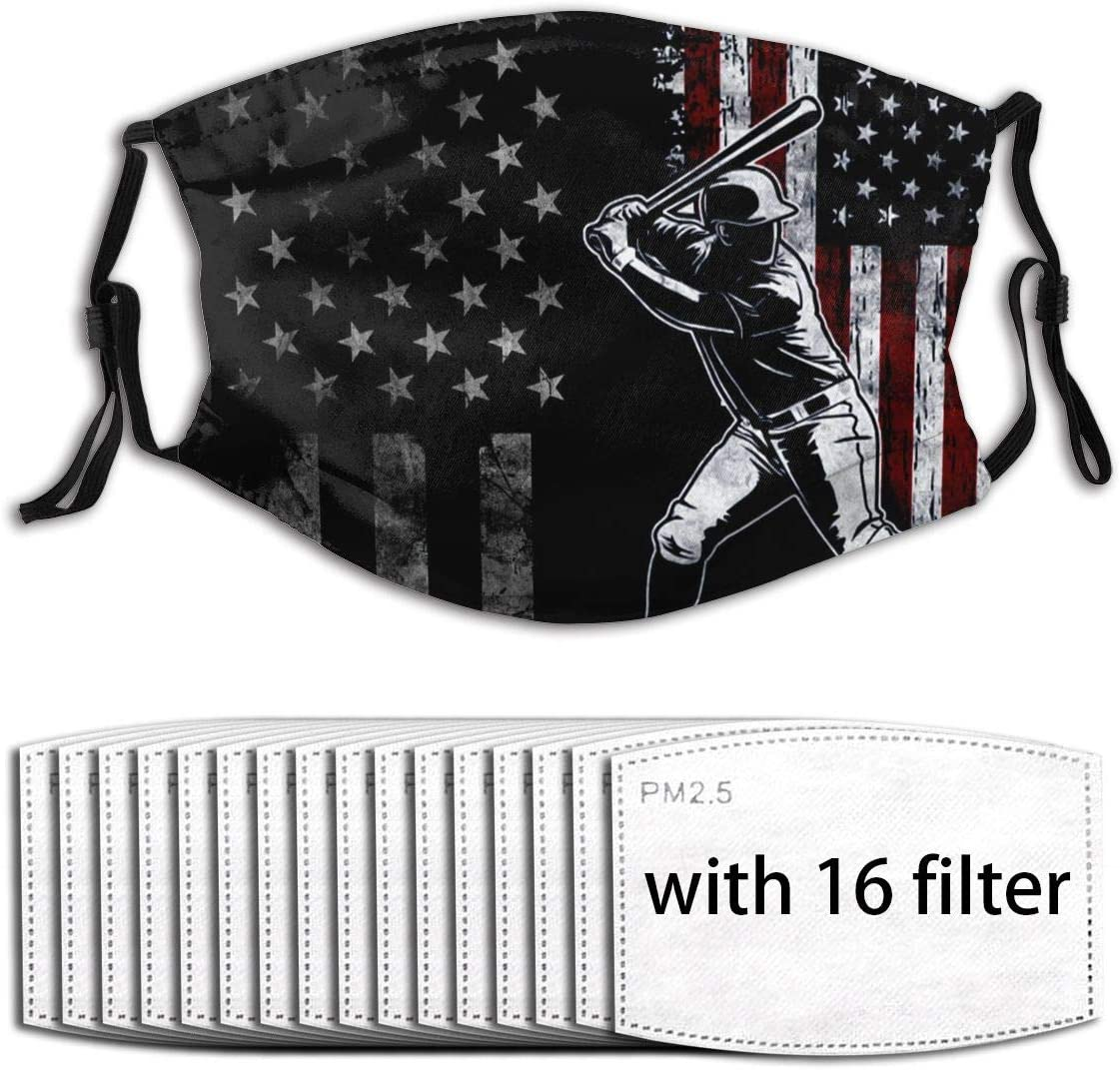 UV Protection Reusable Mouth Guard Insert Filters, Retro Black American Flag Distressed Flag Batting Baseball Batter Anti Air Dust Filters Protection Cover for Hiking Camping - Adjustable Ear Loops: Sports & Outdoors