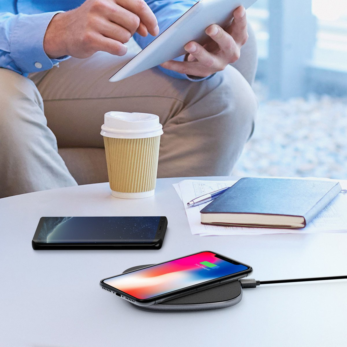 POWERADD Cargador Inálambrico Rápido, Carga Estándar Fast Wireless Charger para iPhone 8, 8 Plus, iPhone X, Samsung S9 Plus S9 S8 Plus S8 Note8 S7, iPhone X 8 Plus 8, Xiaomi Mix 2S, etc, Color Negro