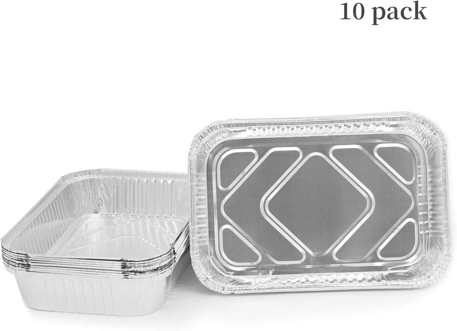 """Aluminum Pans 12.15"""" x 8.2"""" Disposable Foil Pans Large Capacity of 5 lb Heavy Duty Reuseable Durable Grill Trays Loaf Pans Great for Turkey, Baking, Roasting & Cooking (10 Pack)"""