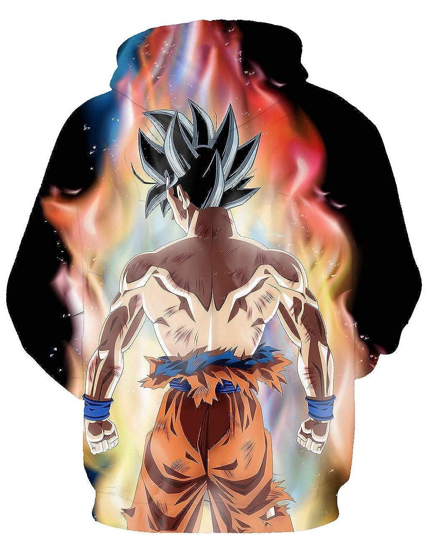 Unisex Felpa con Cappuccio Dragon Ball Stampa 3D Giovane Pullover con Tasche Coulisse Autunno Felpe a Manica Lunga Cappotto Maglione per Bambini e Ragazzi
