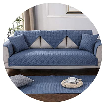Amazon.com: Modern Style Blue Quilted Sofa slipcovers Cotton ...