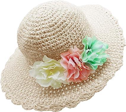 Baby Hat Girl Sun Hat Beach Hat Straw Hat Wide Brim Hat Wave Lace Hat Light Blue
