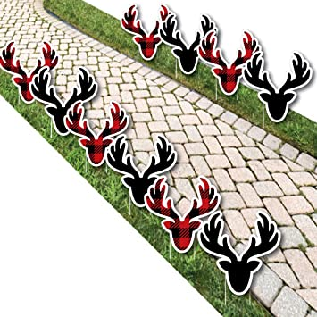 prancing plaid reindeer lawn decorations outdoor christmas holiday buffalo plaid yard decorations - Christmas Lawn Decorations Amazon