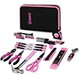 DEKO Pink 71 Piece Household Tool Kit,Ladies Portable Tool Set with Easy Carrying Pouch, Perfect for DIY Projects, Home Maint
