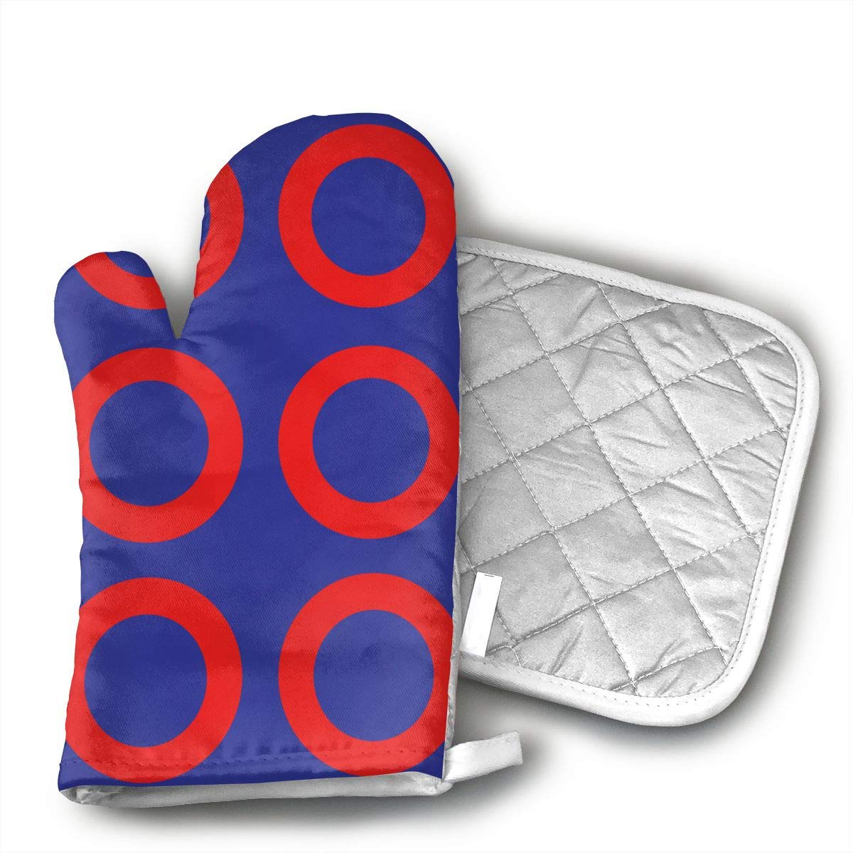 HAIQLK Phish! XXL (Proper Size!) Fabric 1787 Oven Mitts Non-Slip for Home Kitchen Cooking Barbecue Microwave for Women/Men Machine Washable BBQ