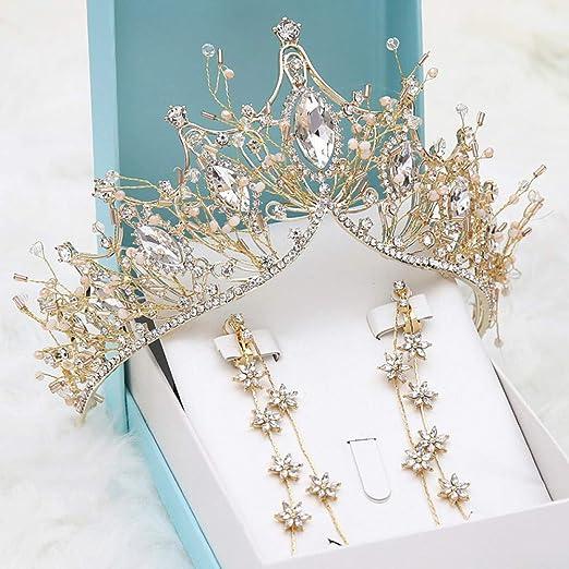 CPHGG Coronas de Princesas Novia Corona de Oro Bodas Vestido ...
