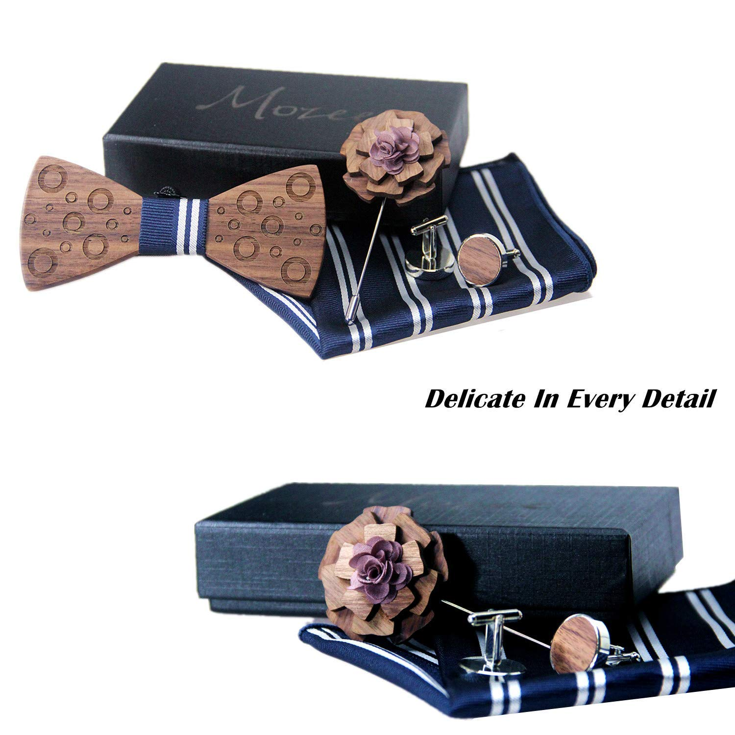 Premium Quality Walnut Wood Bow-tie With Brooch and Cuff-links Wooden Bow Tie Gift Box