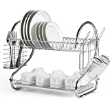Dish Rack 2 Tier, Dish Drying stand, Kitchen Rack Dish Rake and Organizer, Kitchen Utensil Holder Dish Drainer and Dish…
