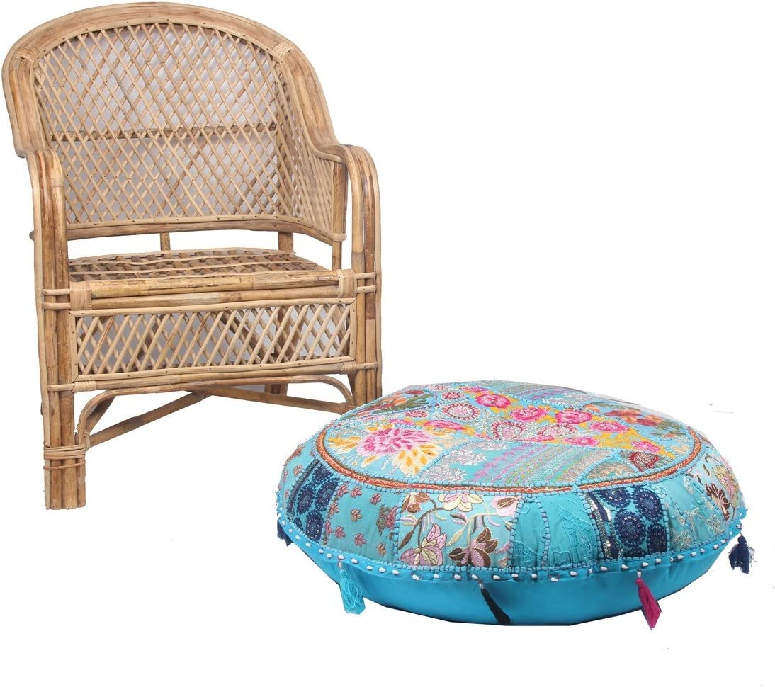 Jaipur Textile Hub Patchwork Cotton Boho Chic Bohemian Hand Embroidered Round Floor Pillows & Cushion Cover Seating Pouf Ottoman (Turquoise, 32 inch Approx)
