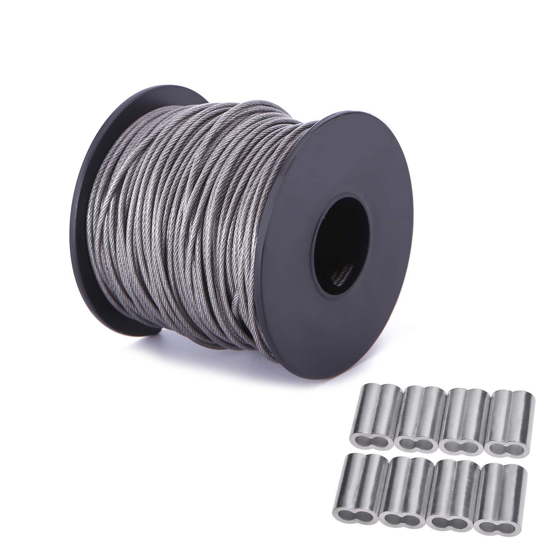 1,5 mm x 98 Fu/ß Vinyl beschichteter Bilderrahmen H/ängedraht Edelstahl Draht-Spule mit 20 St/ück Aluminium Crimp-Schlaufe H/ülse 1,5 mm x 98 Fu/ß unterst/ützt bis zu 110 lbs