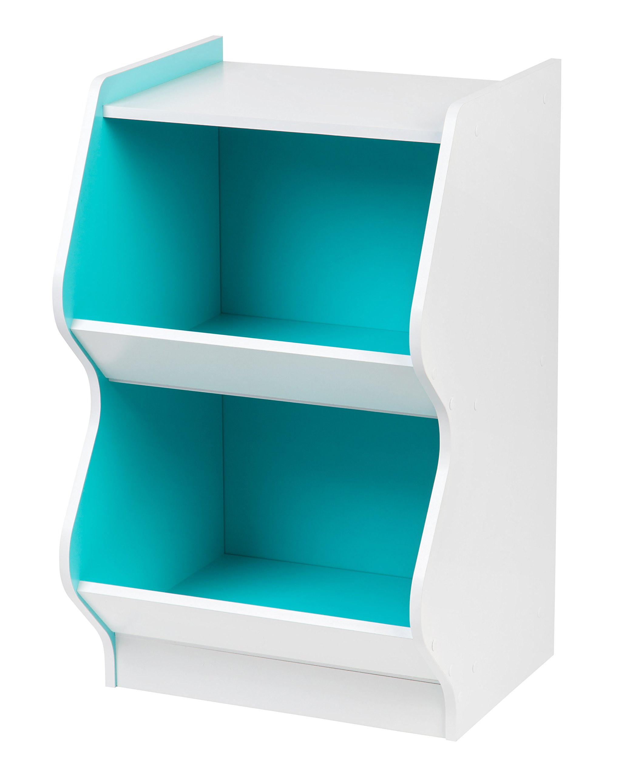 IRIS 2 Tier Curved Edge Storage Shelf, White and Blue